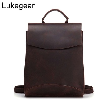 Lukegear Crazy Horse Cowhide Leather Backpack Retro Classic Unisex Backbags Men Leather Schoolbags