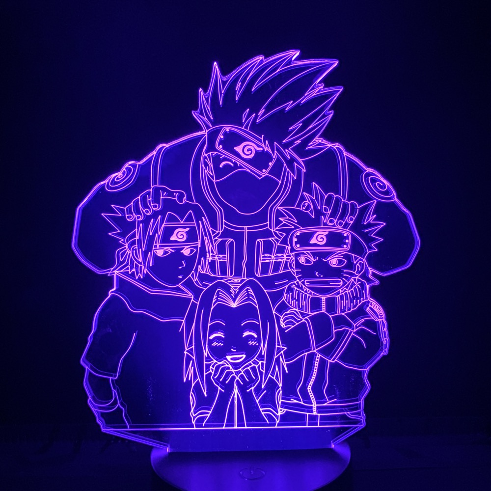 Luz conduzida da noite naruto dos desenhos animados crianças kakashi sasuke sakura japonês mangá anime amizade comic sensor lâmpada nightlight lâmpada 3d