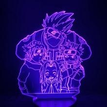 Veilleuse Led en 3d pour enfants Naruto, dessin animé, Kakashi Sasuke Sakura, Manga japonais, Anime, thème de lamitié, lampe à capteur, veilleuse