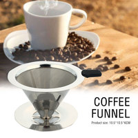Cone Coffee Filter Mesh Stainless Steel Baskets Dripper Kitchen Coffeemaker Coffee Filter Portable Tea Restaurant Funnel