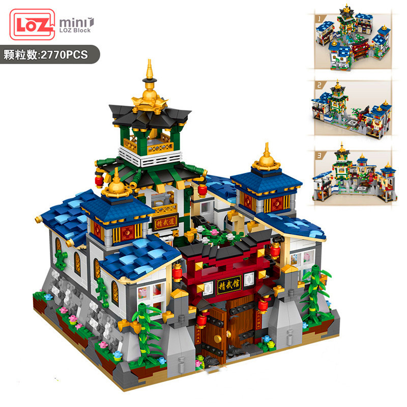 2770PCS LOZ MINI Blocks/Loques Chinese Tradition Culture/Kongfu JINGWU hall/Four kinds of deformation play Collection Value GIFT