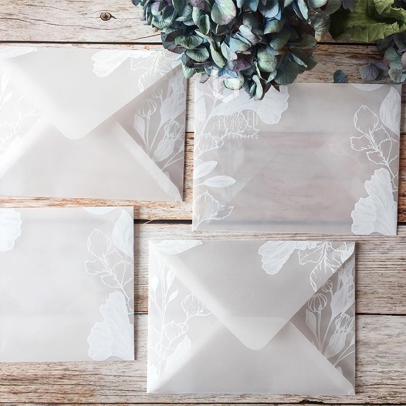 20pcs/lot Translucent Sulfuric Acid Paper Envelope Sets Creative Designs Dreamlike Lace Wedding Invitation Envelopes