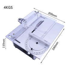 Mini Hobby Table Saw Handmade Woodworking Bench Saw DIY Wood Model Crafts Cutting Tool with Power Adapter HSS Saw Blade 3800RPM