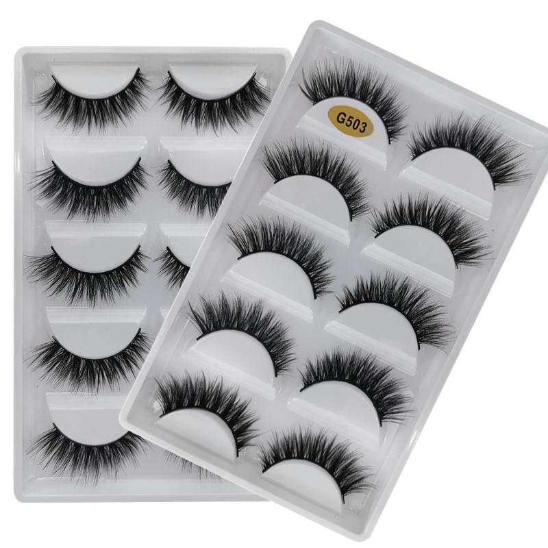 5 Pairs Natural Long Eyelashes Makeup False Eyelashes Full Strip Lashes Mink Eyelashes Thick 3d Mink Lashes Maquillaje Faux Cils