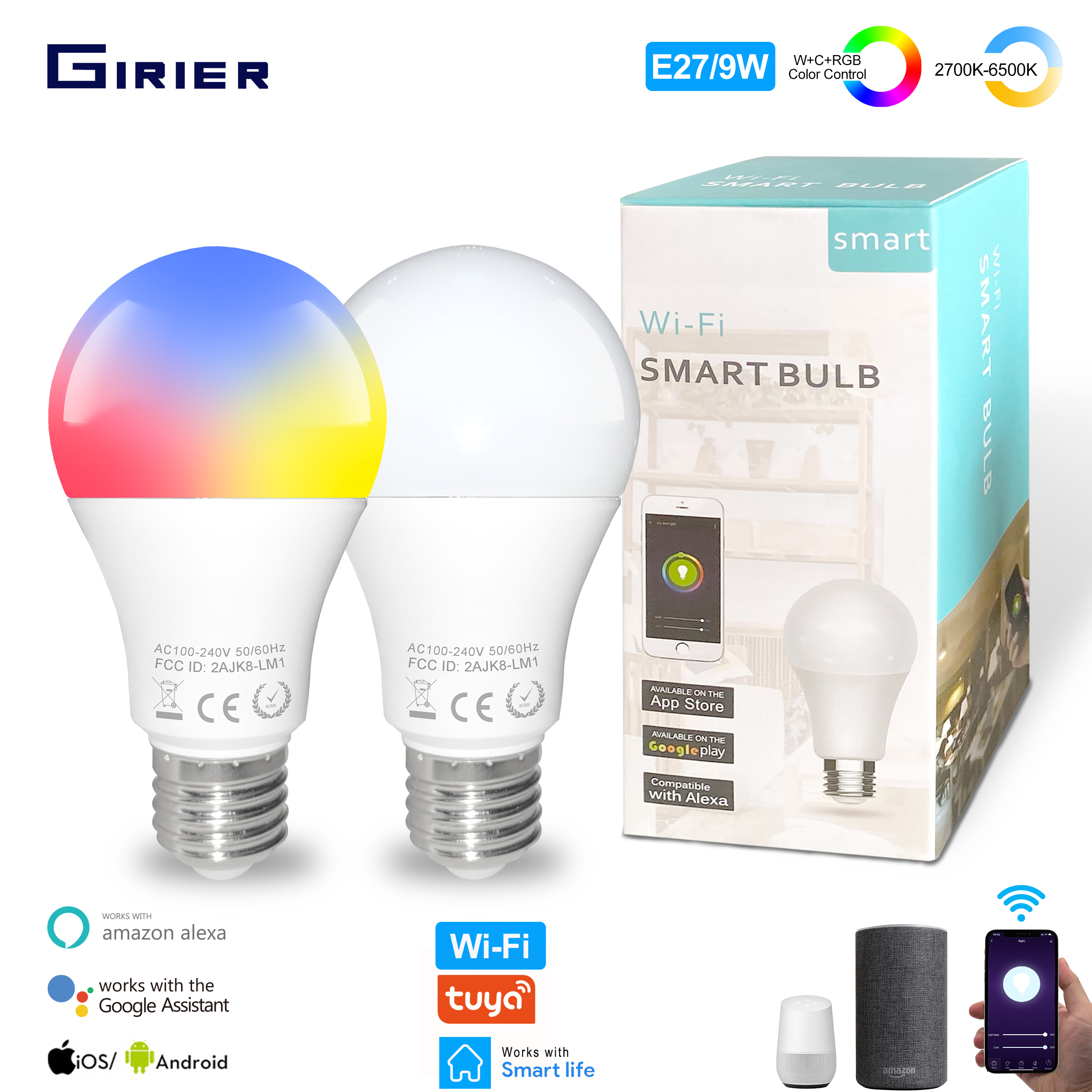 9W Wifi Smart LED Light Bulb E27 Dimmable RGB Lamp Tuya App Smart Remote Control Compatible with Google Home Alexa Voice Control(China)