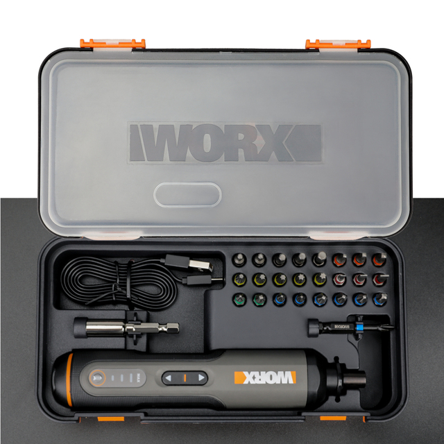 Worx 4V Mini Electrical Screwdriver Set WX240 Smart Cordless Electric Screwdrivers USB Rechargeable Handle with 26 Bit Set Drill 6