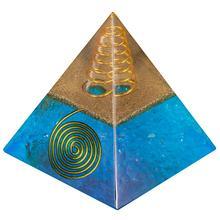 TUMBEELLUWA Healing Crystal Gold Wire Orgone Pyramid Stone Figurine Energy Generator for Meditation Reiki Balancing,Blue Color
