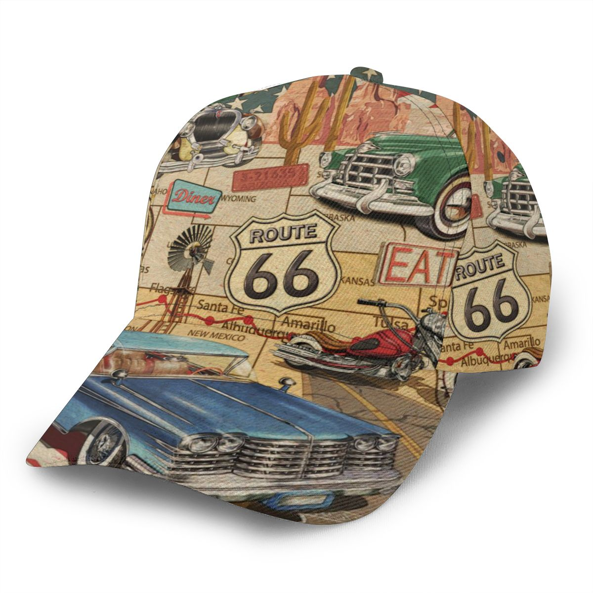 CINESSD 2022 New Baseball Cap Fishing Caps Men Outdoor Hunting Hat Hiking Hat Vintage Route 66 Poster