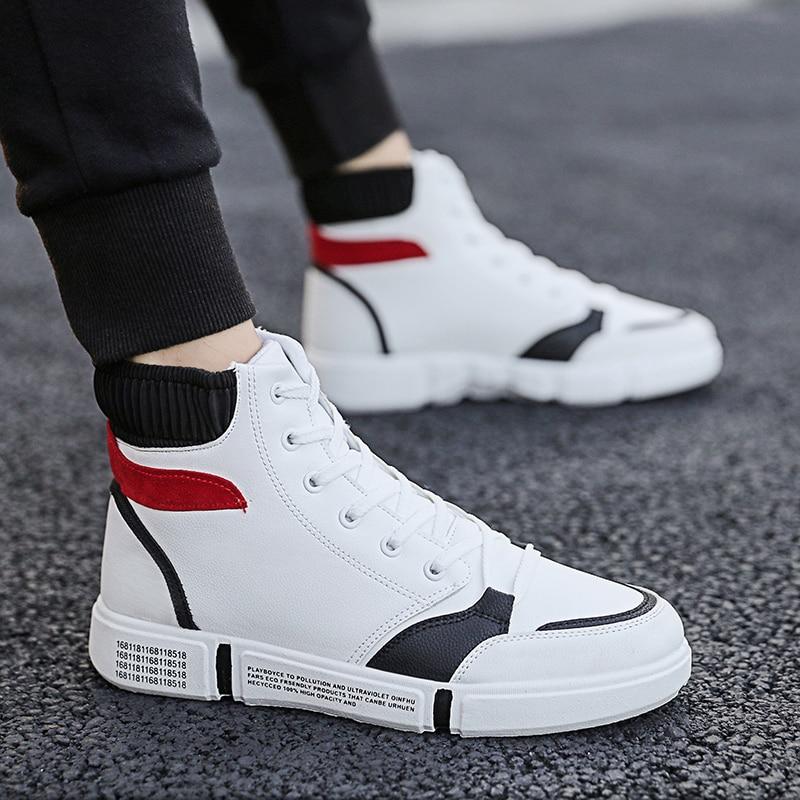 Модные белые кроссовки; мужская повседневная кожаная обувь с высоким берцем; Мужская дышащая обувь на плоской подошве; спортивная обувь на шнуровке; Herren Schuhe|Повседневная обувь|   | АлиЭкспресс
