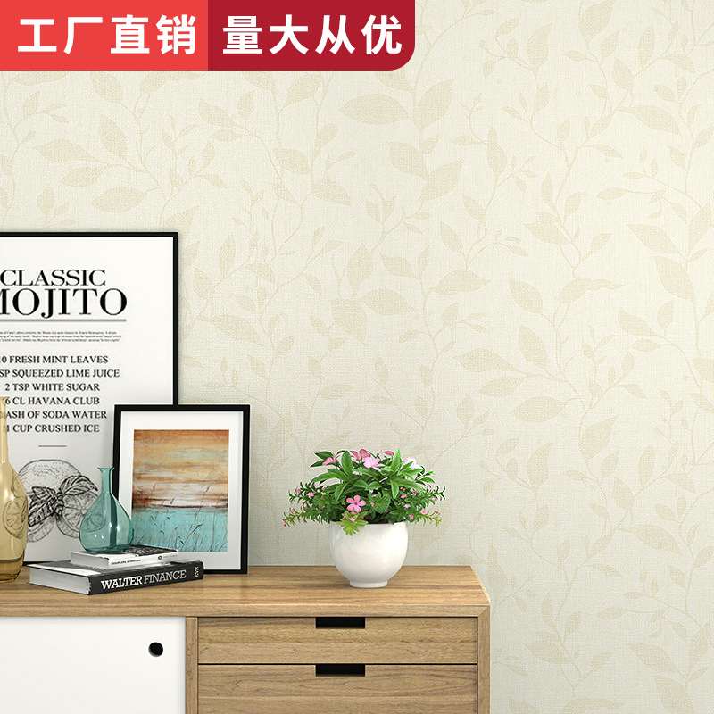 Bedroom Living Room Sofa Wall Wallpaper Minimalist Modern Leaf Wallpaper Linen Pattern Nonwoven Fabric Factory Wholesale
