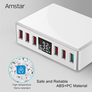 Image 3 - Amstar 40W Quick Charge 3.0 USB Charger Adapter 6 Ports Led Display QC3.0 USB Phone Charger for iPhone Samsung Huawei Xiaomi