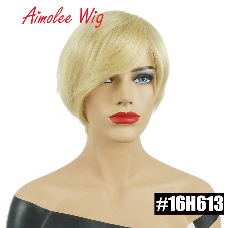 Short Straight Hair Blend Wigs Women'S Bob Style Wig Human Hair Synthetic Real Black Brown Blonde Asymmetrical Hair Daily Wig