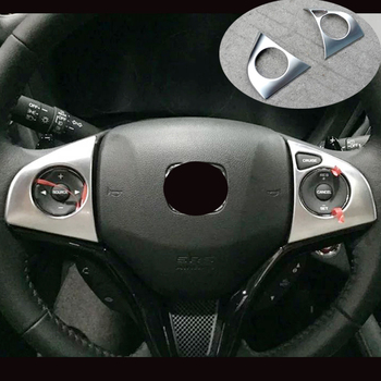 For Honda HRV HR-V Vezel Accessories 2015 2016 ABS Matte Car Steering wheel Button frame Cover Trim Sticker Car Styling 2PCS