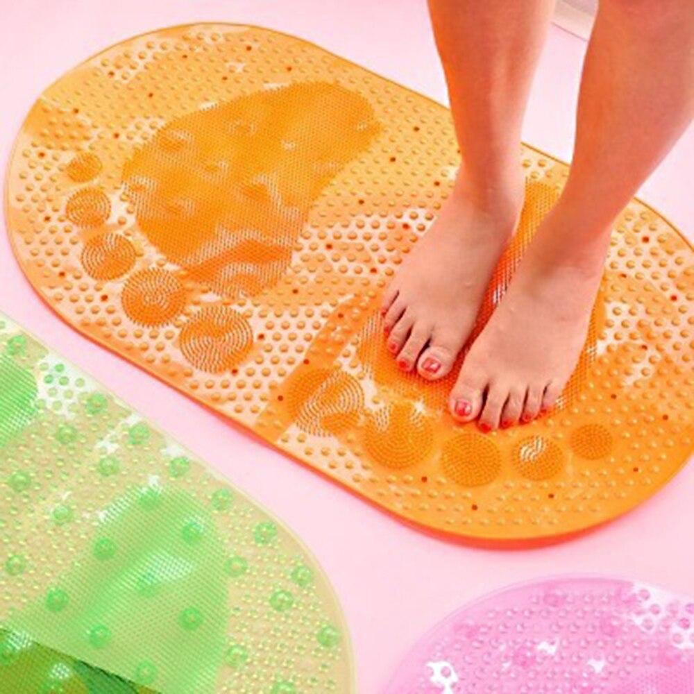 Non-Slip PVC Bathtub Mat Translucent Bathmat Slide-Proof Ground Floor Bath Rug Bathroom Foot Pad Door Mat for Tub Shower