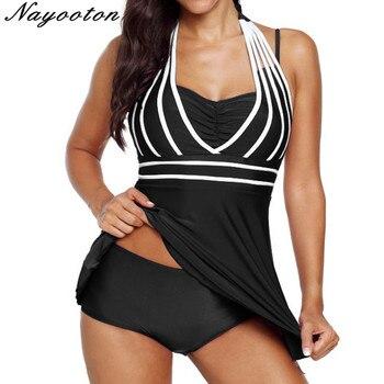 Plus size 5XL One Piece Swimwear Women Halter Swimdress Two Pieces Tankini Set Monokini Bathing Suit swimsuit