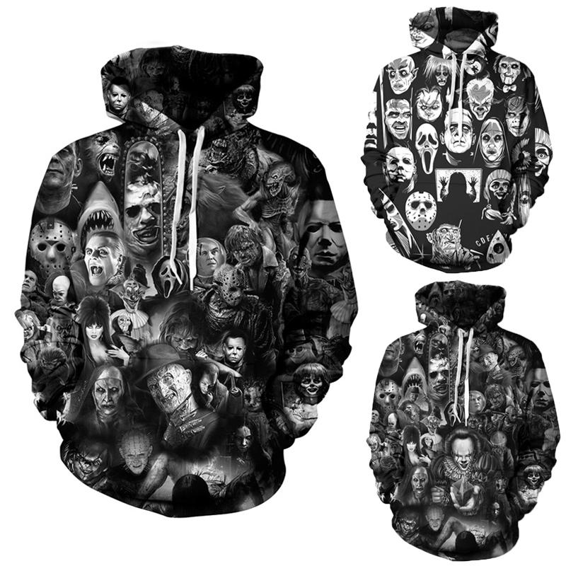 Men Horror Movie Clown Hoodies Winter Funny Characters 3D Print Mens Sweatshirt Fashion Full Printed Plus Size Unisex Hoodies