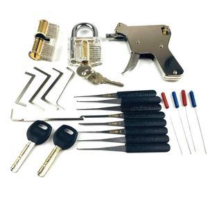 Image 2 - 2PCS Transparent Lock with Lock Tool Gun,12pcs Broken Key Remove Picking Tool Tension Tool,Best Locksmith Tools Practice PickSet
