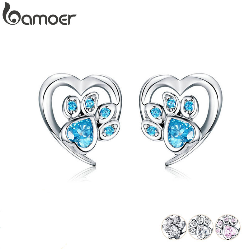 bamoer Blue Crystal Paw Stud Earrings for Girl Heart Shape CZ Footprint Ear Studs Jewelry Women 2019 New Design Bijoux SCE654