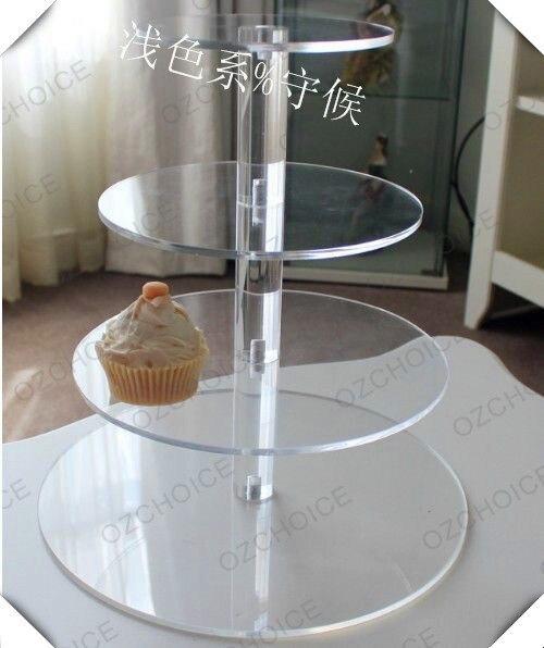 » 4 niveaux Disposition unique Belle grace clair Acrylique Support de Cupcake Fête/Mariage/Festival Fournitures décoration de fête