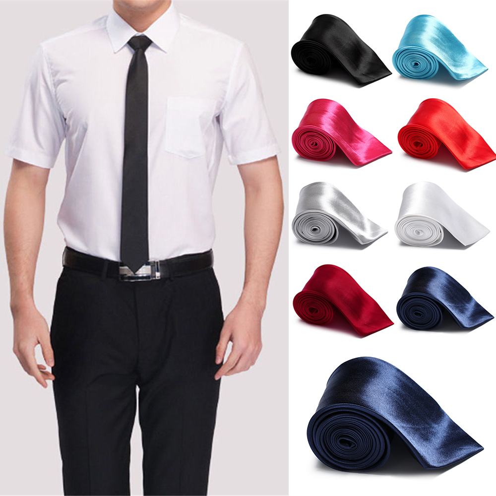 Fashion Skinny Solid Plain Tie Necktie Silk wedding