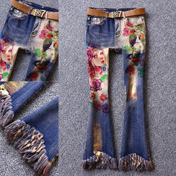 Весна Лето Женщины высокой талией микро-динамик Кисточкой Свободные штаны Тонкий Красота печати стрейч джинсы