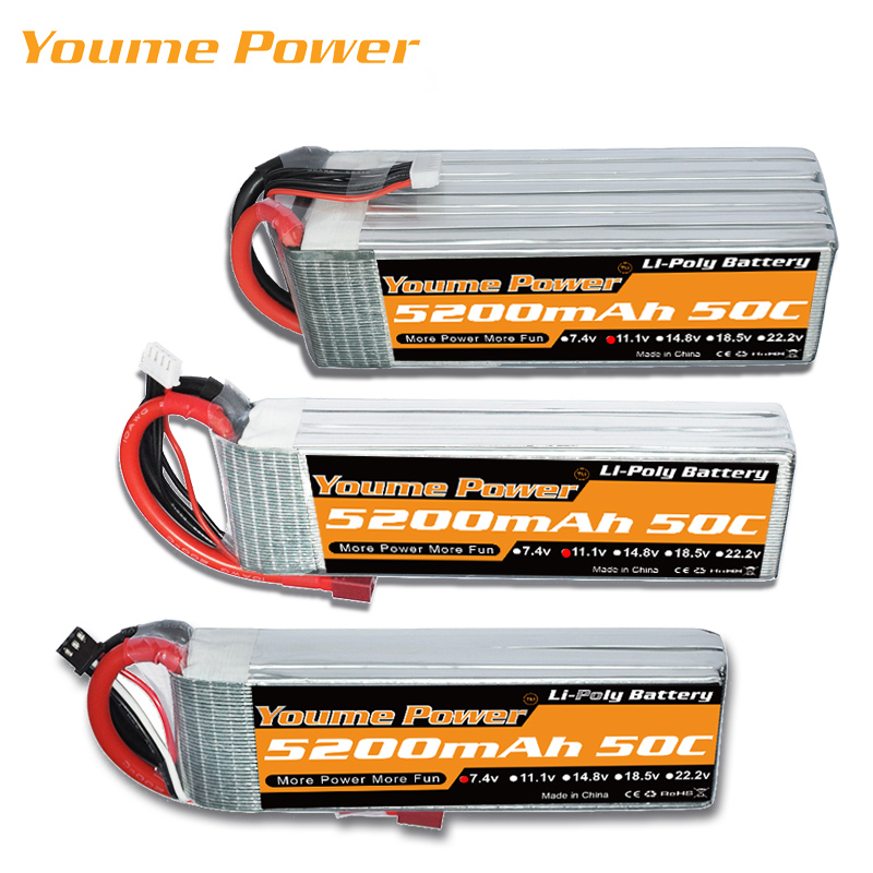 YOUME Lipo 3S 4S 11.1V 14.8V 5200MAH 2S 6S 7.4V 22.2V Battery 5S 18.5V 50C XT-60 T For RC Parts Boat Car Quadcopter Helicopter