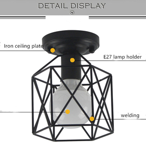 Image 5 - Vintage Ceiling Lights Lustre Luminaria Led Ceiling Lamp Loft Iron Cage Fixtures Abajur Home Lighting Plafonnier For Living Room