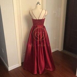 Image 3 - Mor uzun saten abiye 2020 spagetti kayışı yüksek bölünmüş bir çizgi kolsuz V boyun resmi balo elbisesi yürüyüş yanında size