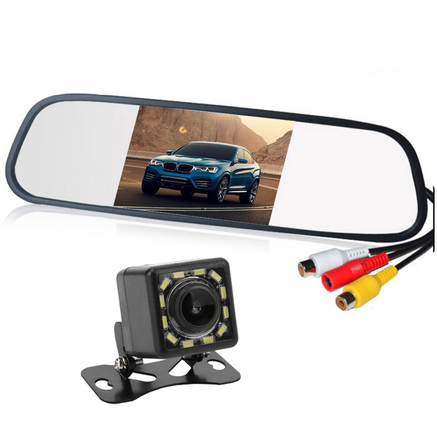 HD Video Auto Parking <font><b>Monitor</b></font> LED Night Vision Reversing CCD Car Rear View Camera With <font><b>4.3</b></font> <font><b>inch</b></font> Car Rearview Mirror <font><b>Monitor</b></font> image