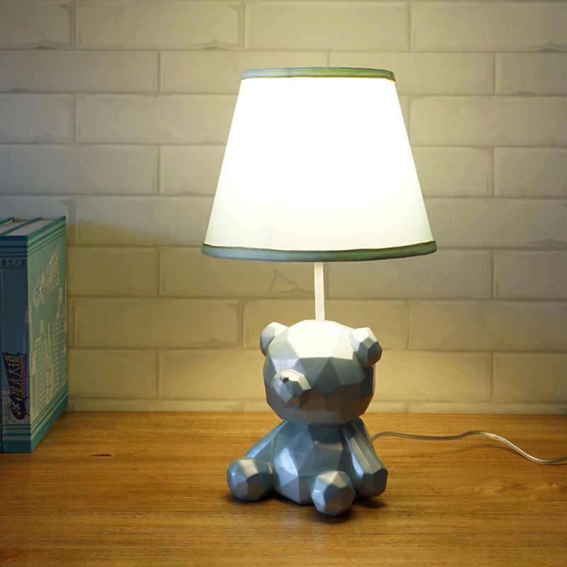 Candeeiro de mesa moderno menina urso bonito resina criativo LED mesa art deco luzes para o menino crianças quarto estudo lâmpadas de cabeceira quarto e27