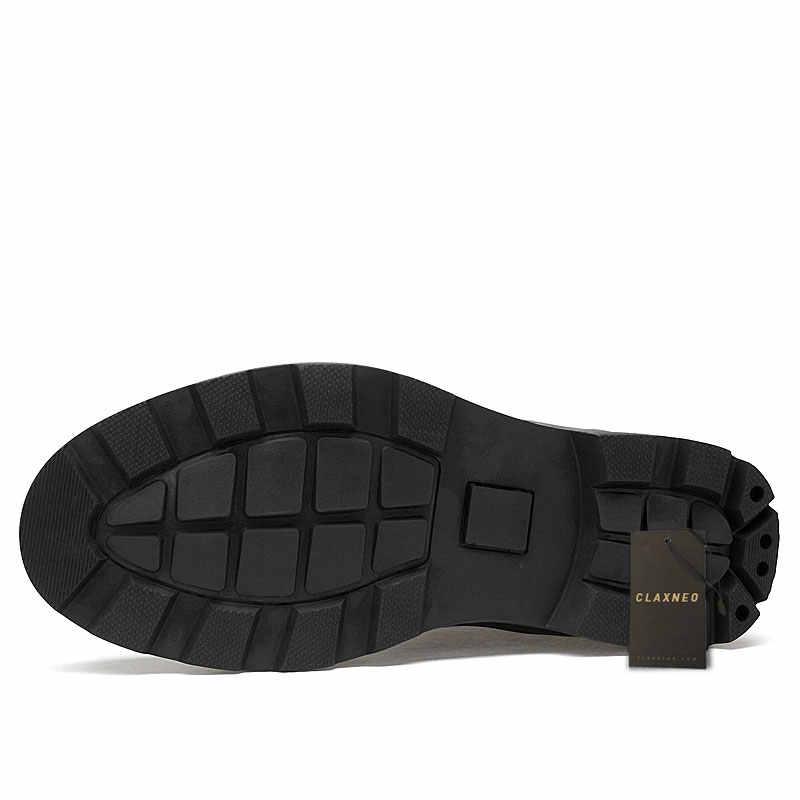 CLAXNEO adam yüksek çizmeler hakiki deri sonbahar erkek deri ayakkabı erkek kış botu peluş kürk sıcak kar ayakkabı büyük boy