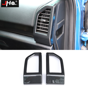 JHO ABS Carbon Grain Dashboard Side Vent Outlet Overlay Cover Trim for Ford F150 2015-2020 Raptor 2019 2018 Gen2 Car Accessories abs carbon fiber grain side mirror cover trim for ford f150 2015 2019 raptor tuning reverse mirror car accessories
