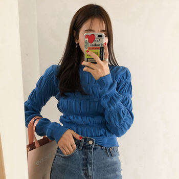 Sannian Women Sweater Retro Round Neck Pullover Fold Texture Design Slim Long-sleeved Knit Clothes Tops