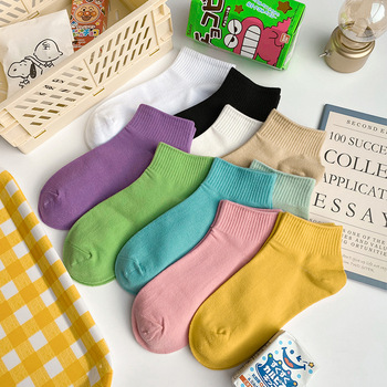 20Pcs=10Pairs Socks For Wholesale Solid Color Soft Breathable Womens Cotton Pack Spring Summer Japanese Harajuku Sock Set