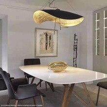 Постмодерн изогнутая поверхность светодиодный подвесной светильник летающая тарелка шляпа искусство домашний декор висячая лампа для гостиной ресторана кухни