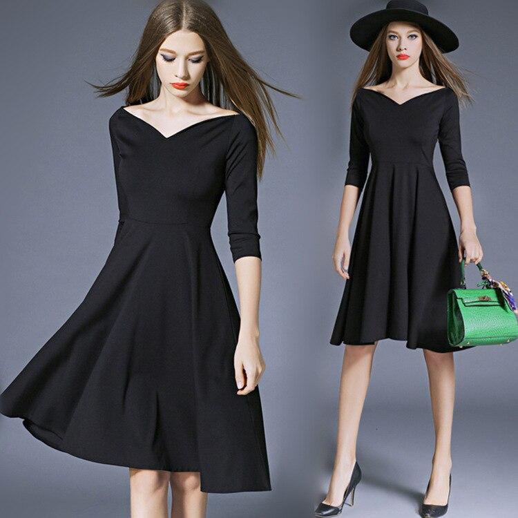 BacklakeGirls Sexy V Neck Off Shoulder 3/4 Sleeve Solid Color Short Cocktail Dresses Black Formal Dress Vestidos Formal Mujer