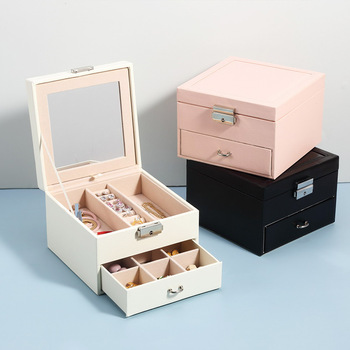 Exquisite Jewelry Box Women Leather Packaging Necklace Rings Earrings Bracelet Storage Organizer Display Gift Boxes