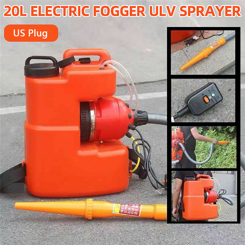 110V 20L Portable Electric ULV Sprayer Cold Fogger Machine Ultra Capacity Disinfection Fight Drugs Sprayer 2200W US Plug