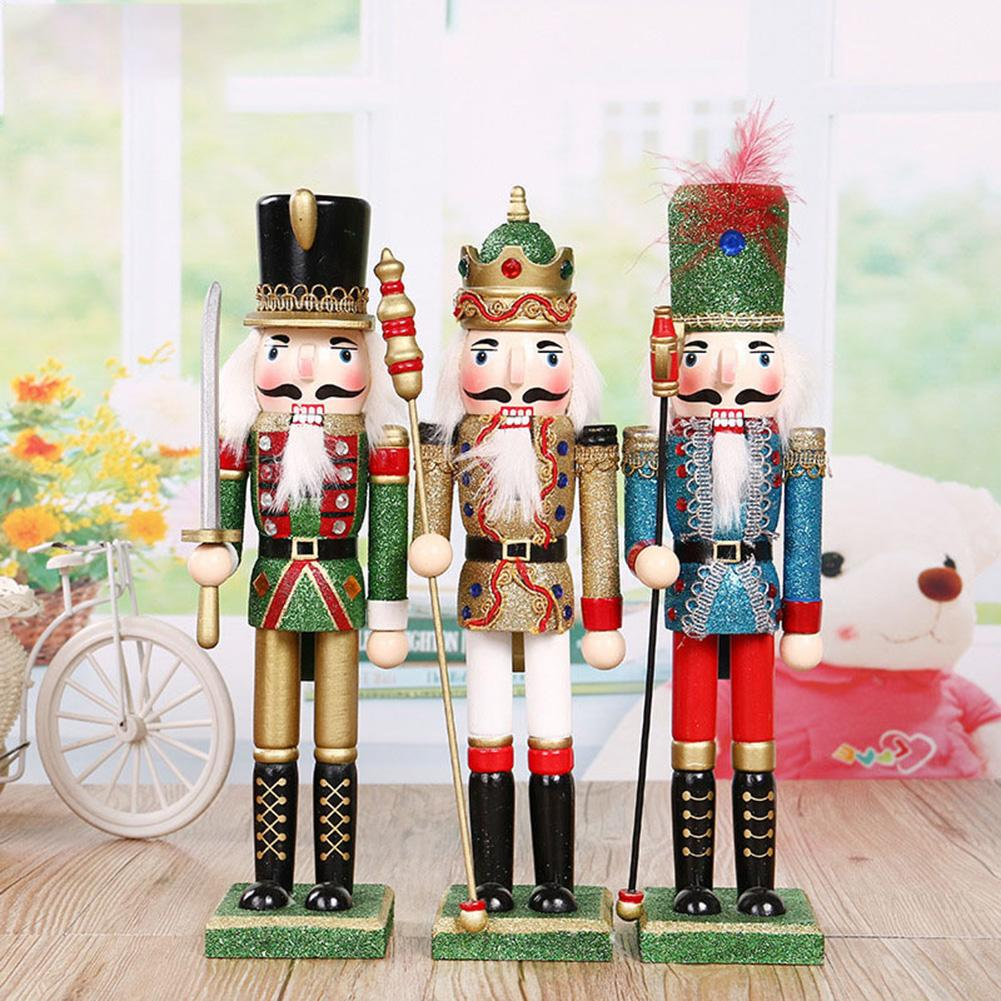 Christmas Decoration Gifts Wooden Painted Nutcracker Puppet People 30cm Desktop Window Decoration