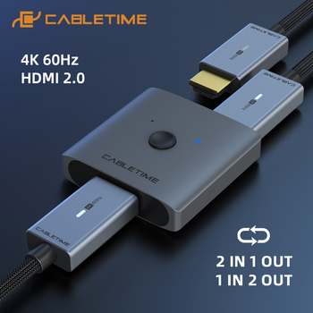 CABLETIME HDMI Splitter 4K 60Hz 1x2/2x1 Adapter HDMI Switcher 2 in 1 Converter for latop Macbook Air HDTV PS4 HDMI Switch C355