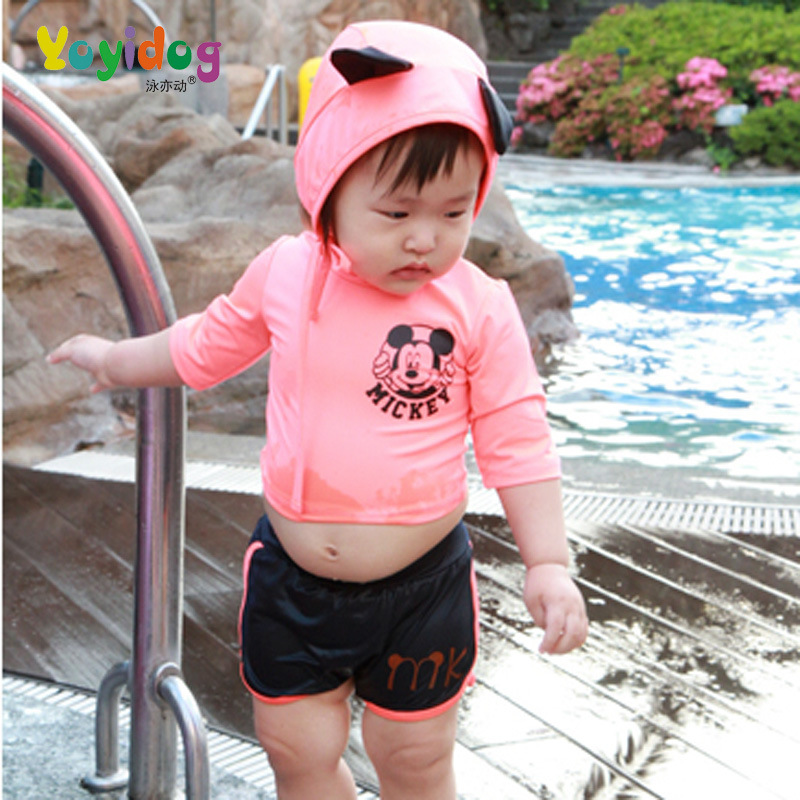 KID'S Swimwear Girls' Two-piece Swimsuit Girls Sun-resistant Long Sleeve Two-piece Swimsuits Children Diving Suit Quick-Dry Swim