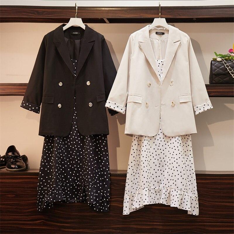 2019 Autumn Plus Size Two Piece Sets Women Dress+Suits Casual Loose Elegant Long Sleeve Blazer And Dot Sling Dresses Suit Coat