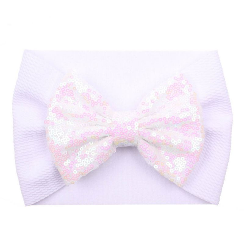1Pc Baby Girl Elastic Hair Band Baby Sequins Bow Tie Wide Head Band Children's Cute Hair Accessories For Festival And Party