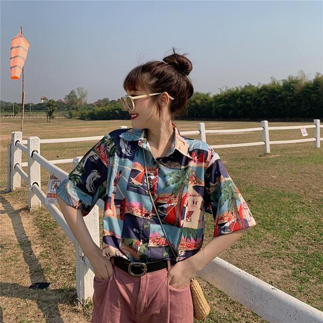 2020 HOT Women Tops and Blouses Fashion Women Shirts Casual Women Blouses short Sleeve Patchwork print Loose Female Tops Shirts