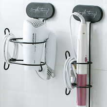 Hair Dryer Holder Straightener Curling Iron Storage Rack Wall Mounted Metal Bathroom Shelf Sticky Blow Dryer Holder Spiral Stand
