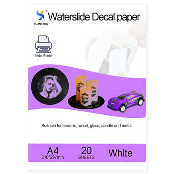 (20pcs/lot) A4 Size Inkjet Water Slide Decal Paper White Background Printing Paper Inkjet Waterslide Decal Paper Free - DISCOUNT ITEM  29 OFF Education & Office Supplies