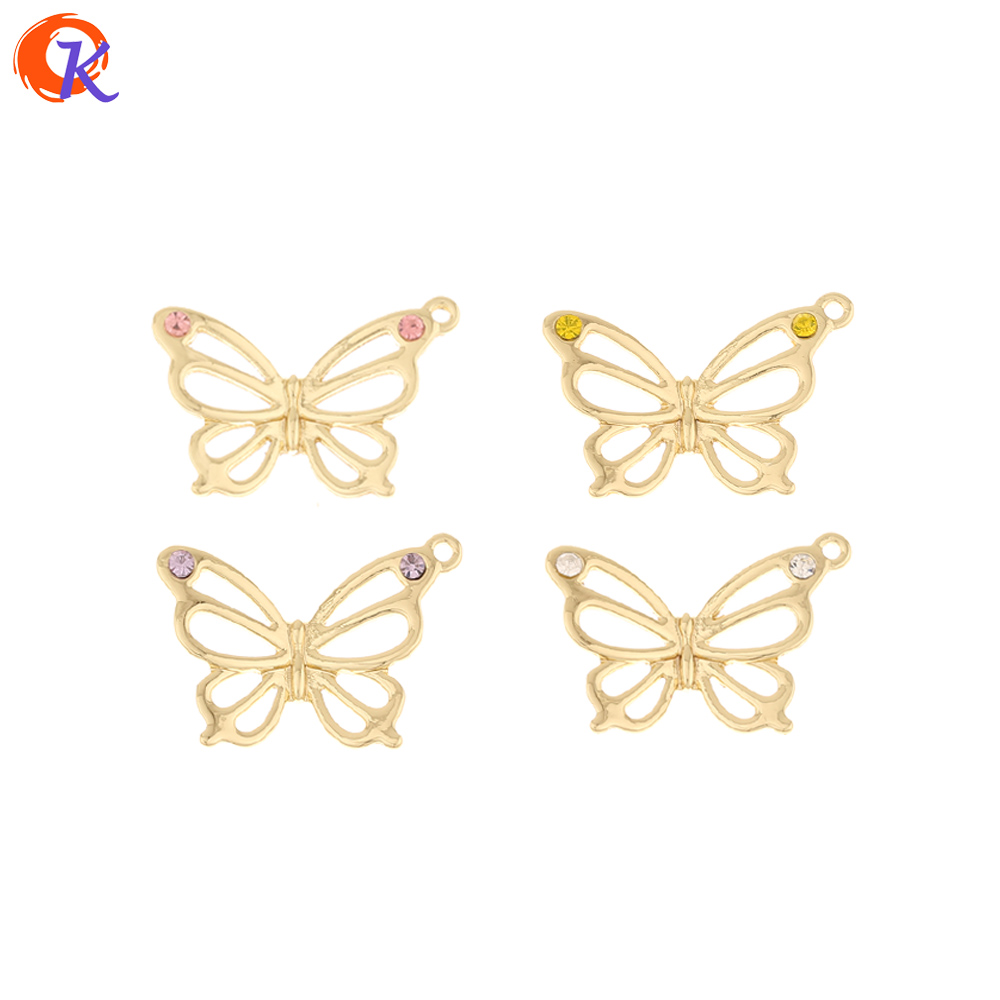 Cordial Design 100Pcs 19*28MM Jewelry Accessories/Hand Made/Rhinestone Charms/Butterfly Shape/Earrings Connectors/DIY Pendant