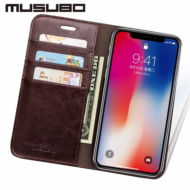 Musubo Luxury Leather Wallet Casing Cover for iPhone Xs Max X XR 7 - Ανταλλακτικά και αξεσουάρ κινητών τηλεφώνων - Φωτογραφία 2