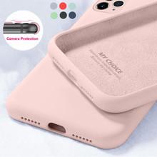 Płynne silikonowe cukierki miękkie etui na iPhone 11 12 Pro SE 2020 XS Max 6 S 7 8 Plus 5 5SE X XR oryginalna osłona kamery tanie tanio YISHANGOU CN (pochodzenie) Bumper High Quality Soft Silicon Liquid Case For iPhone 12 MIni Pro Max Apple iphone ów IPhone 7
