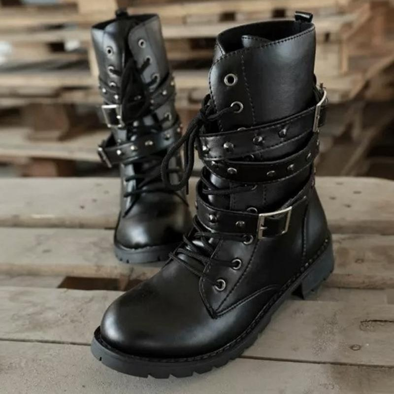 Women Winter Boots Suede Timberland Boots Round Toe Leather Lace Up Combat Boots Ladies Autumn Casual Shoes Dark Gothic Punk image